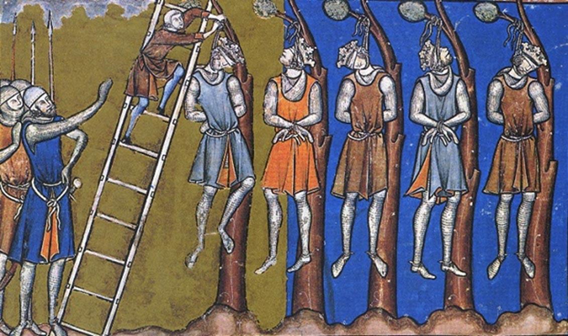 """Representación medieval de la """"justicia real"""" y el enfoque despiadado para tratar con la disidencia (Public Dominio)"""