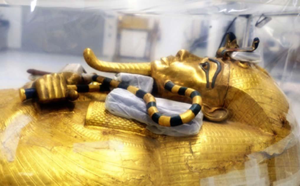 Ataúd dorado grande del rey Tut. Fuente: Ministerio de Antigüedades.