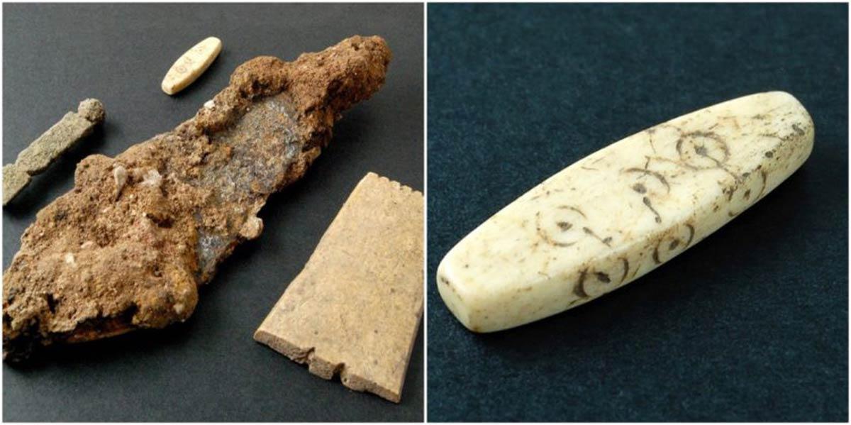 algunos de los hallazgos del sitio de construcción de Northgate, Chester, cerca del sitio de un importante campamento de legiones romanas. Fuente: Arqueología de Oxford