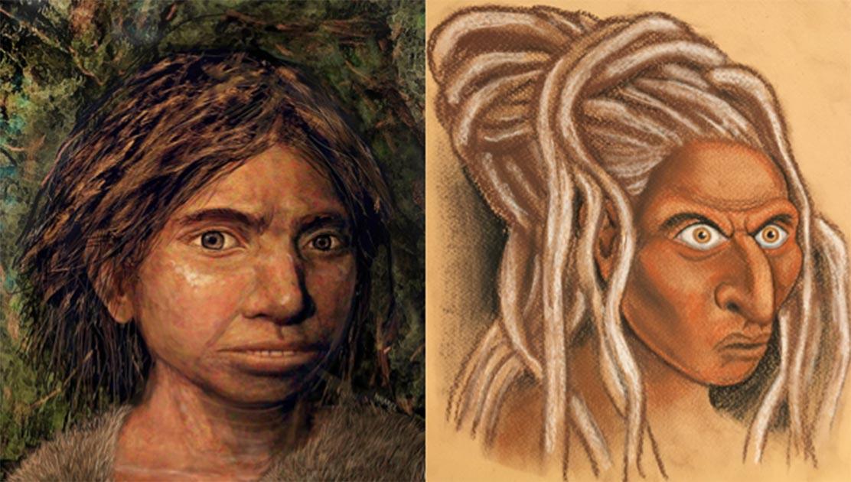 La cara reconstruida de un Denisovan siberiano (derecha) junto con la representación de un Sunda Denisovan de la Universidad Hebrea (izquierda). Fuente: Izquierda © Hernández / Cartwright / Collins; b) © Maayan-Harel)