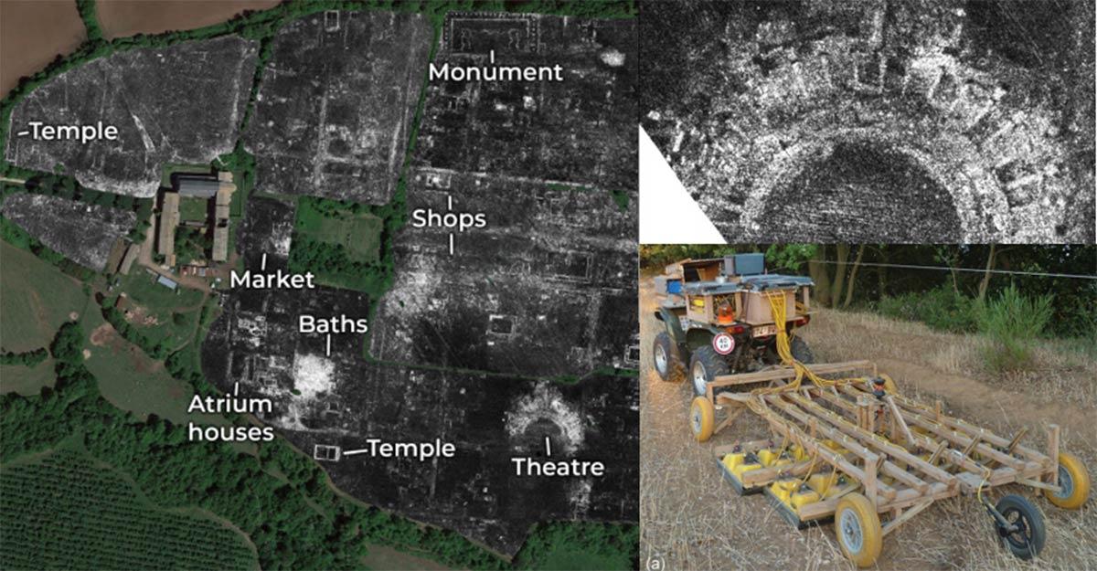 Una porción de datos de radar de penetración en el suelo de Falerii Novi, que revela los contornos de los edificios de la ciudad; Templo Falerii Novi; Sistema GPR. Fuente: L. Verdonck / Antiquity Publications