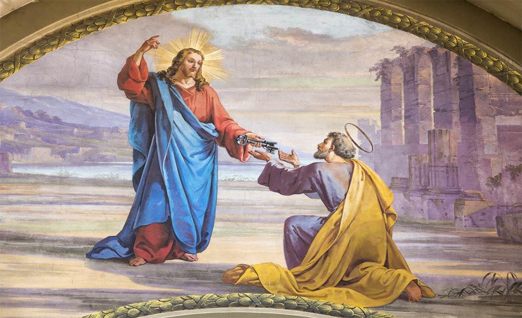 San Pedro recibiendo las llaves del cielo de manos de Jesús; pero la tumba de Pedro parece ser un misterio con un mensaje diferente.