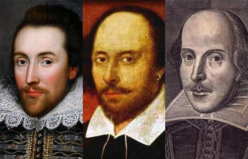 Una imagen que muestra comparaciones directas entre el Shakespeare del retrato de Cobbe, el retrato de Chandos y el grabado Droeshout. Fuente: Brice Stratford / Dominio público