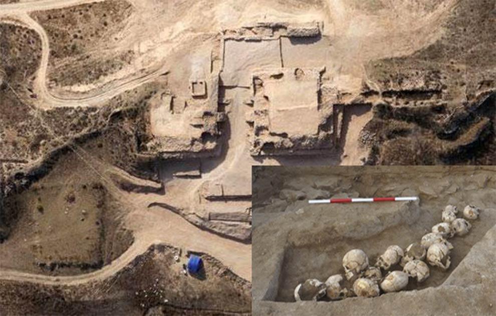 Vista aérea del sitio arqueológico de Shimao. (dfdaily) Insertar: Un pozo de cráneos desenterrado en Shimao. (Zhouyong Sun et al.2017)
