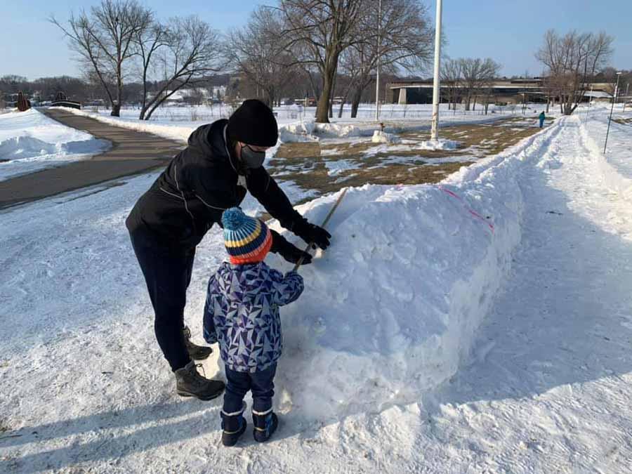 Clase junior de serpientes de nieve en Warner Park, Madison.