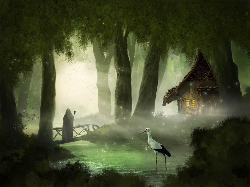 Esta imagen germánica vincula a la cigüeña con la muerte y el inframundo.
