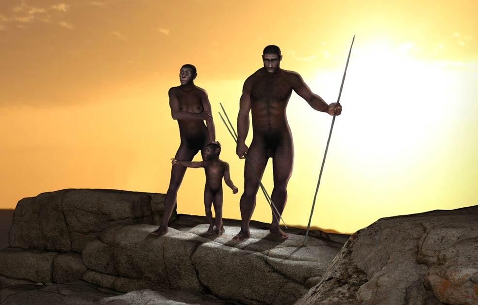 Representación de los homínidos bípedos Homo erectus, uno de los ancestros del Homo sapiens. Fuente: : ratpack223 / Adobe Stock