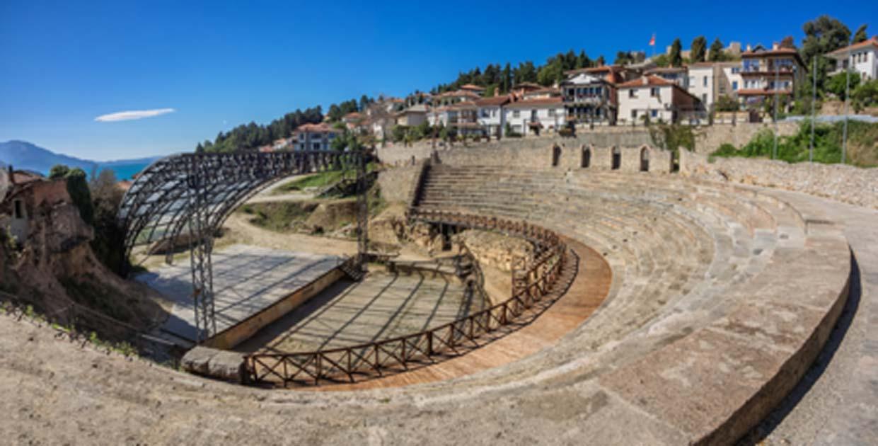 Teatro romano antiguo en Ohrid en Macedonia Fuente: Frankix / Adobe Stock