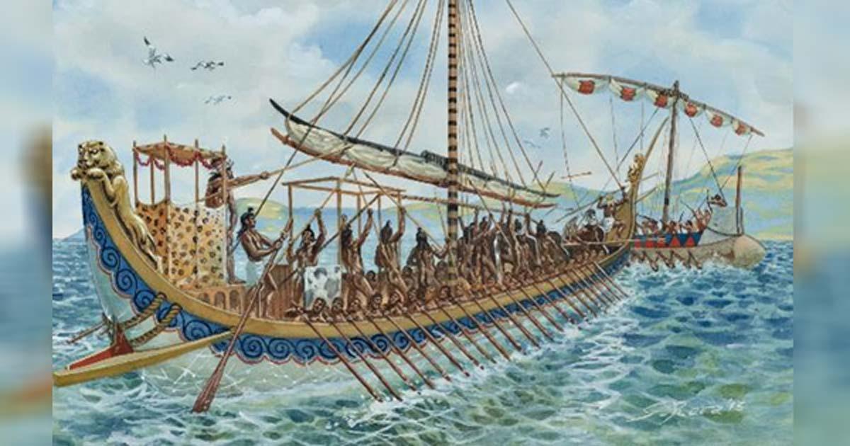 Ilustración de un barco minoico.