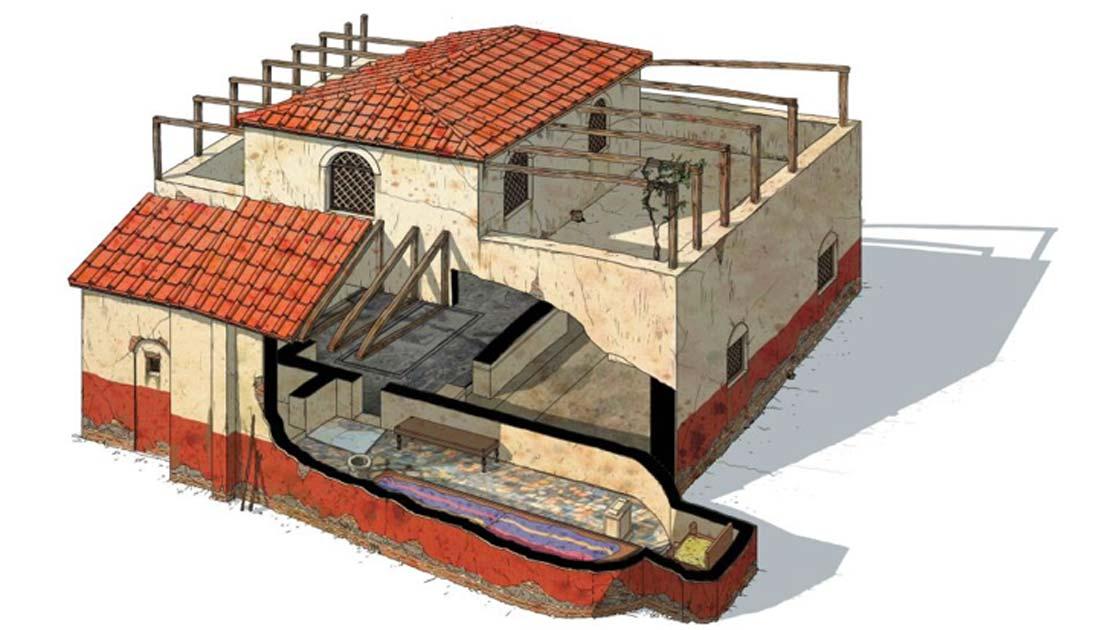 """Reconstrucción del """"Mithraeum of Colored Marbles"""". El 'spelaeum', la sala más importante del Mithraeum, se muestra en el nivel inferior. Fuente: G Albertini / Live Science"""