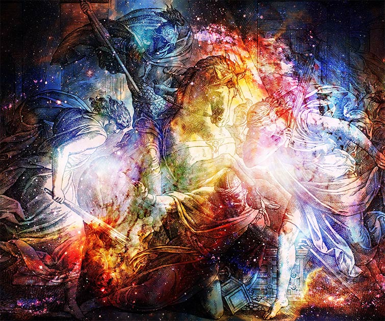 Se han encontrado historias de batallas entre magos y demonios en textos cristianos antiguos. Ere, Helidor lucha sobre un caballo en un collage del grabado de la Escuela Nazareene, publicado en The Holy Bible, St.Vojtech Publishing, Trnava, Eslovaquia, 1937.