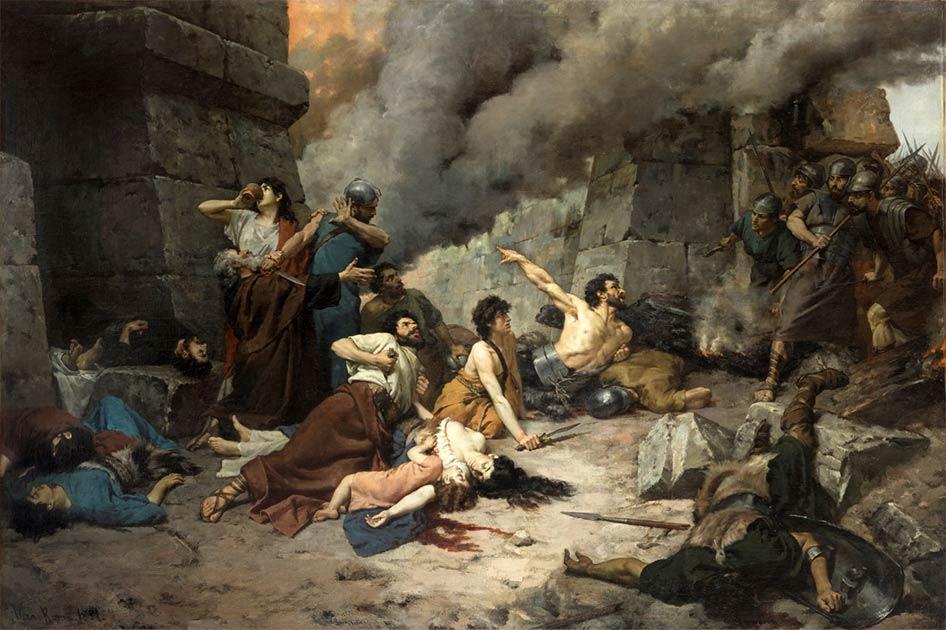 Durante ocho meses, el general romano Scipio Africanus el Joven bloqueó la ciudad celtíbera de Numancia hasta que los habitantes que defendían la ciudad murieron de hambre. (Dominio público)