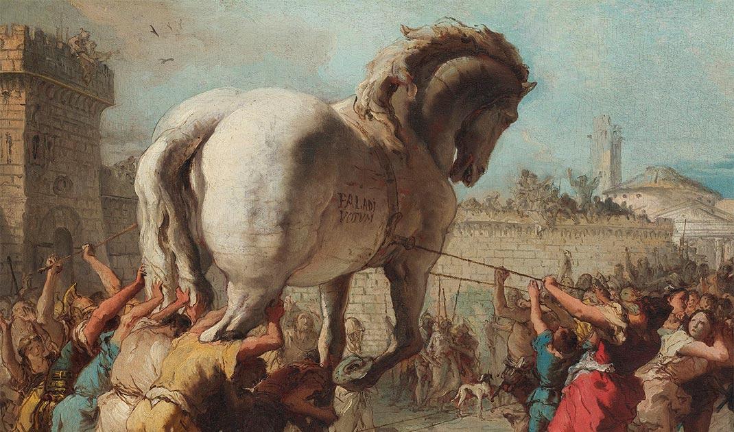 Detalle de La procesión del caballo de Troya en la pintura de Troya. (Giovanni Domenico Tiepolo / Dominio público)