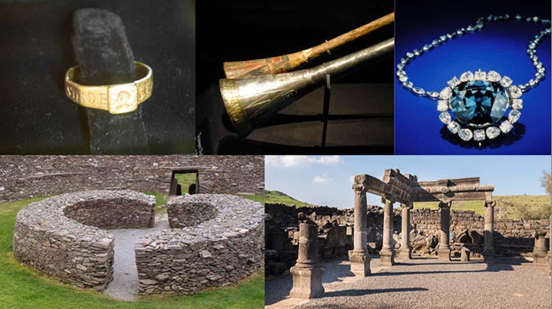 """Algunos objetos desafortunados y sitios malditos: El anillo de Silvianus (CC BY 2.0), la trompeta de plata de Tutankamon con inserto de madera (Meridianos), el diamante Hope (CC BY-SA 4.0) el anillo de piedra, """"Ring of Kerry"""" en Irlanda (Francis Bijl / CC BY 2.0 ), y las ruinas de una antigua sinagoga en Chorazin. (Lev.Tsimbler / CC BY SA 4.0)"""