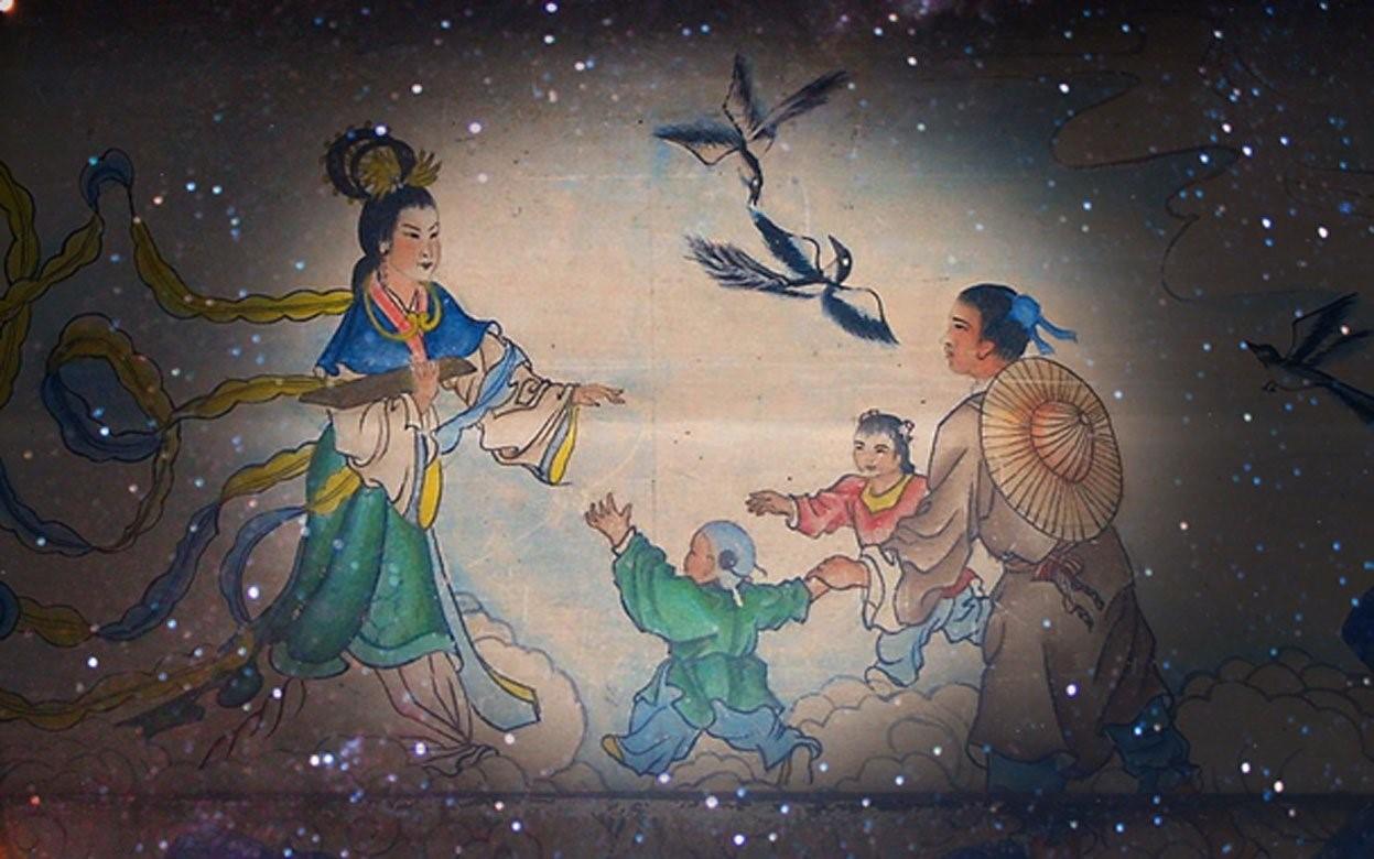 Deriv; El reencuentro de la pareja en el puente de urracas. Obra en el largo corredor del verano. Palacio de Beijing. (Dominio público) y la Vía Láctea (CC BY-SA 2.0)