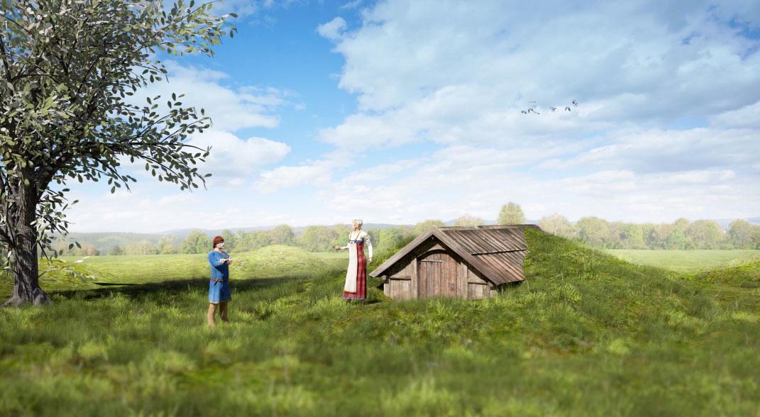 Cómo se vería el mausoleo vikingo según los arqueólogos. Fuente: Raymond Sauvage, NTNU Vitenskapsmuseet