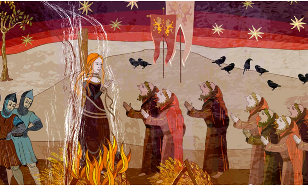 Una bruja ardiendo en la hoguera, al igual que las tres brujas de Bochnia fueron ejecutadas por sus atroces crímenes.
