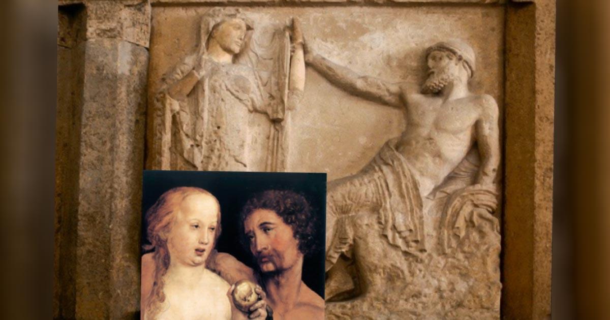 Zeus sentado busca la mano de Hera en el templo de Hera en Selinus, c. 530 a.C. Recuadro: Adán y Eva, óleo y papel, Hans Holbein el Joven, 1517. (Dominio público)