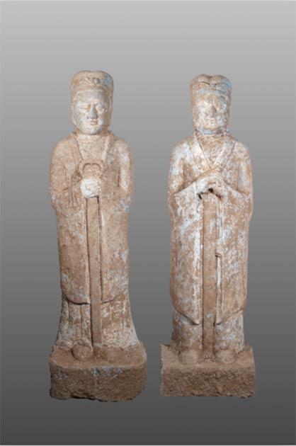 Figuras desenterradas en una tumba china descubierta en la provincia de Henan, en el centro de China. (Zhou HuiYing / China Daily)