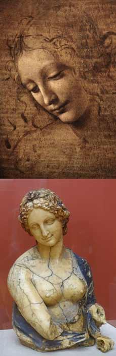 Flora no es la única obra de arte de Da Vinci cuestionable que circula. La Scapigliata (a la izquierda) también se ha atribuido polémicamente al artista del Renacimiento italiano, al igual que Flora (a la derecha) hasta que esta evidencia científica concluyente determinó que era la creación del artista británico Richard Cockle Lucas. (Izquierda: dominio público / Derecha: dominio público)