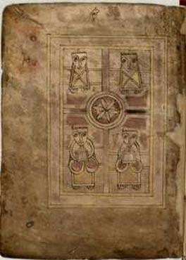 Verso del folio 1 del Libro de los ciervos (Biblioteca de la Universidad de Cambridge, MS. II.6.32), que muestra a los cuatro evangelistas. (Dominio público)