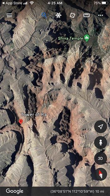 Las formaciones geológicas del Gran Cañón reciben nombres curiosos. Fuente: mapas de Google