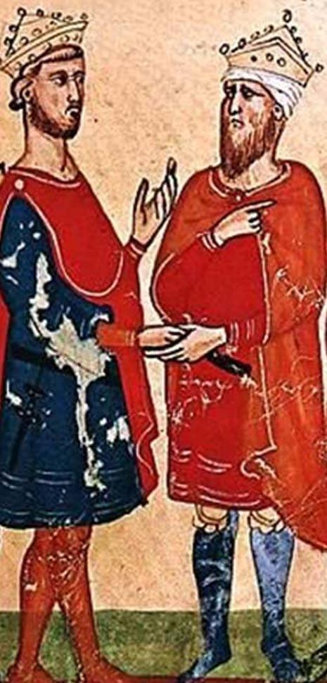 Federico II, Emperador del Sacro Imperio Romano (izquierda) se encuentra con al-Kamil Muhammad al-Malik (derecha), de un manuscrito de la Nuova Crónica, entre circa 1341 y circa 1348. (Dominio público)