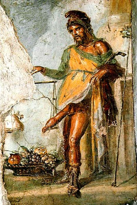 Fresco de Príapo, Casa dei Vettii, Pompeya. Representado pesando su enorme pene erecto contra una bolsa de oro. (Dominio público)