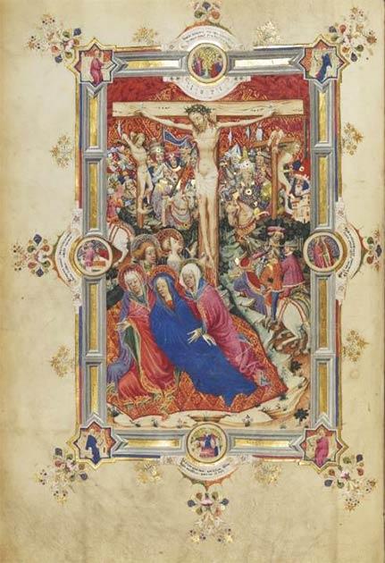 La imagen de página completa de la Crucifixión en el Misal Sherborne. (Dominio público)