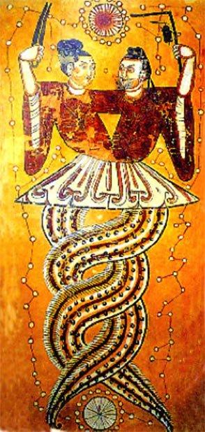 Fuxi y Nuwa, creadores de la humanidad, generalmente se representan entrelazados. (Kepautile ~ commonswiki / Dominio Publico)