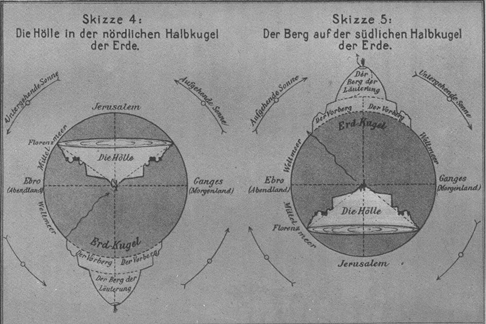 Interpretación de un artista de la geografía de la Divina Comedia: la entrada al Infierno se encuentra cerca de Florencia, con círculos que van descendiendo hasta el centro de la Tierra. Desde el centro de la Tierra, Dante asciende hasta las orillas del Purgatorio, que se encuentran en el hemisferio sur. De ahí pasa a la primera Esfera Celeste, que se encuentra sobre la cima del Purgatorio. Albert Ritter (1922) (Wikimedia Commons)