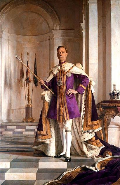 Jorge VI, rey de Inglaterra, eligió el antiguo color púrpura del poder para su retrato oficial. (Dominio público)