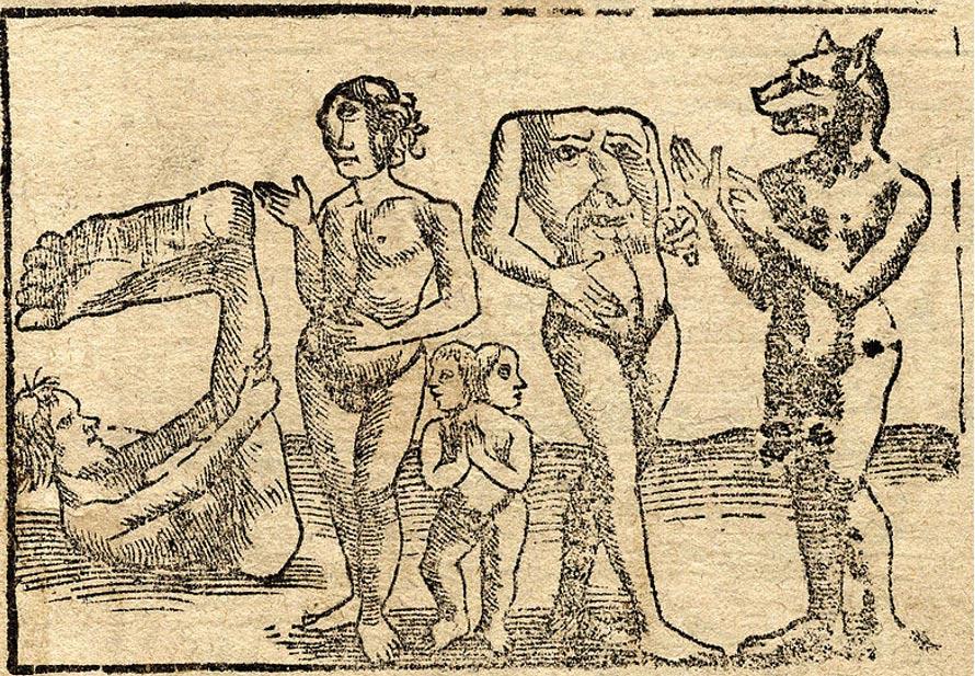 Grabado en el que aparecen (de izquierda a derecha) un Monópodo o Esciápodo, un Cíclope femenino, Siameses unidos, un Blemio, y un Cinocéfalo, 1544 (Wikimedia Commons).