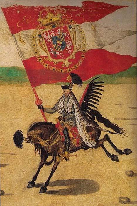 Gran portador de la corona / húsar alado en la procesión de bodas del rey Segismundo III. (Mareczko / Dominio Público)