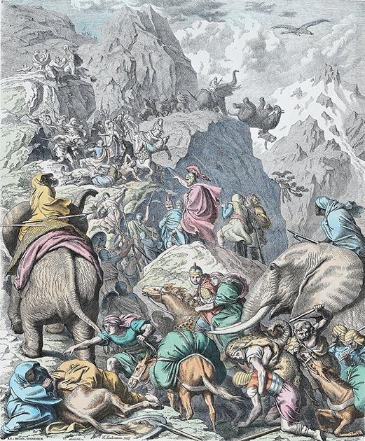 Aníbal, sus hombres y elefantes cruzando los Alpes. (Heinrich Leutemann / Dominio público)