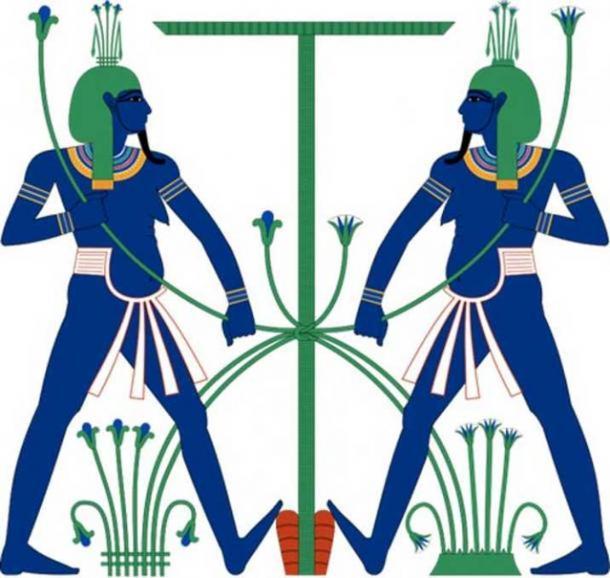 Hapi, que se muestra como un par iconográfico de genios que unen simbólicamente el Alto y el Bajo Egipto. (CC BY SA 3.0)
