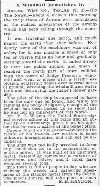 """S. E. Haydon, """"Un molino de viento lo demolió"""", The Dallas Morning News, 19 de abril de 1897, pág. 5. (Dominio público)"""