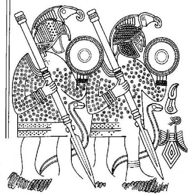 Pegada al casco en una de las tumbas del barco había una placa de metal grabada con una ilustración de guerreros con aves de presa en los cascos. Dibujo de G. Arwidsson, Valsgärde 7, 1977. (Norwegian SciTech News)