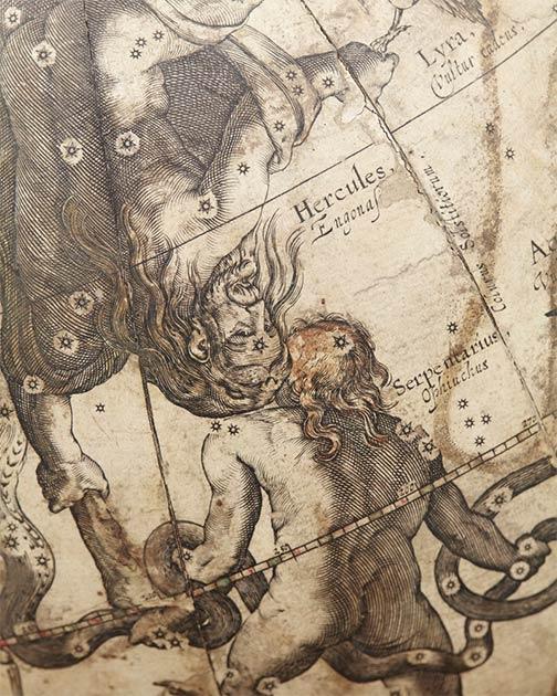 Herkules y Ofiuco, 1602 por Willem Blaeu. (Erik Lernestål / Dominio público)