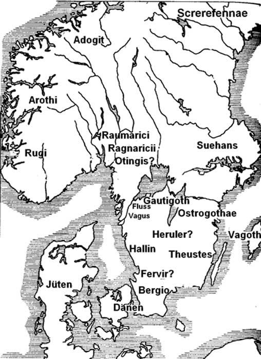 En este mapa, la posible patria heruliana se encuentra en el sur de Suecia. (CC BY-SA 3.0)