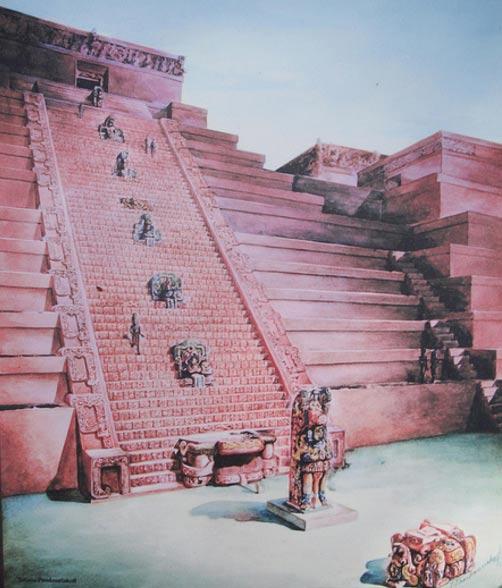 Pintura de la escalinata de los jeroglíficos en Copán, Honduras (Scott & Emily/Flickr)