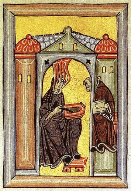 Hildegard recibiendo visiones, una reproducción de una imagen del manuscrito medieval de 'Scivias'. (Eisenacher-commonswiki / Dominio público)