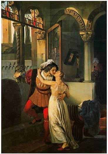 Romeo y Julieta se conocen en un baile de disfraces, al igual que los jóvenes amantes de la historia de Bandello.