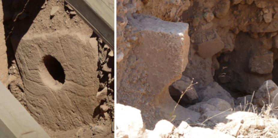 Figs. 5 y 6: A la izquierda, la piedra agujereada del recinto D y, a la derecha, la pieza equivalente del recinto C, partida por la mitad. Fotos: Andrew Collins.