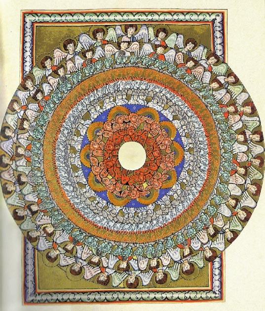 Iluminación de las Scivias,el manuscrito medieval desaparecido, mostrando jerarquías angelicales. (Tetraktys / Dominio público)
