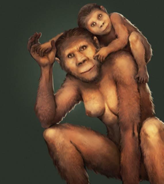 Ilustración de una madre Australopithecus africanus y su descendencia joven. (José García y Renaud Joannes-Boyau, Uso Justo)