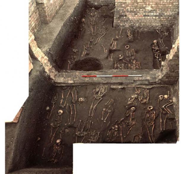Imagen que muestra los restos de numerosas personas que vivieron en la Cambridge medieval desenterrados en el antiguo sitio del Hospital de San Juan Evangelista, tomada durante la excavación de 2010. (Unidad Arqueológica de Cambridge / St John's College)