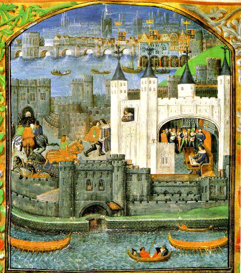 Dibujo medieval de la Torre de Londres (Wikimedia Commons)