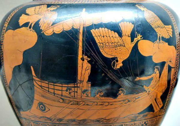 Ánfora griega decorada con la escena de Ulises escuchando cantar a las sirenas (Wikimedia Commons)