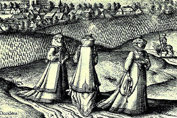 Ilustración mostrando a nobles damas transilvanas, contemporáneas a Erzsébeth Bathory, paseando por sus posesiones. Siglo XVI (Wikimedia Commons)